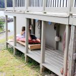 Underneath the porch, I have created a CUDDY ... the bunky of a boat. There is a spot for a little nap, a read or a gathering for wee people.