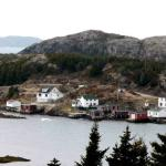 A view of  'Turkey Shore' from across the harbour. The land mass behind that is Twillingate Island.